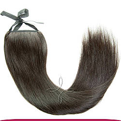 Шиньон-Хвост из Славянских Волос на Ленте 50 см 100 грамм, Черный №1B