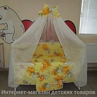 Детское постельное белье в кроватку желтое Мишки горох 9 в 1 Gold 120х60см