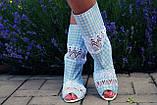 Стильные голубые сапожки с открытым носком , фото 2
