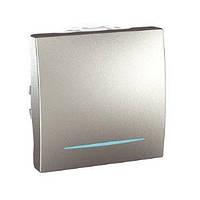 Кнопочный выключатель с подсветкой 1-кл алюминий Schneider Electric Unica Top MGU3.206.30N