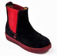Замшевые черно-красные ботиночки Bistfor
