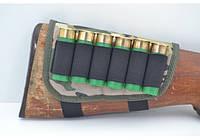 Патронташ на приклад на 6 патронов камуфляж на поролоне арт. 5088