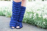 Стильные синие кружевные сапожки с рюшами и открытым носком , фото 2