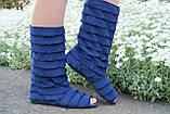 Стильные синие кружевные сапожки с рюшами и открытым носком , фото 3