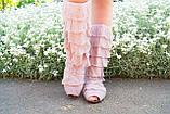 Стильные бежевые кружевные сапожки с рюшами и открытым носком , фото 2