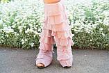 Стильные бежевые кружевные сапожки с рюшами и открытым носком , фото 3