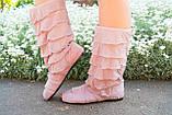 Стильные бежевые кружевные сапожки с рюшами и открытым носком , фото 4