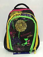 Рюкзак Winner stile 1794 школьный детский для девочек в черном цвете с разноцветными змейками