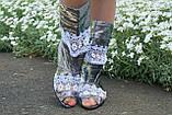 Стильные серебристые кружевные сапожки с открытым носком , фото 2