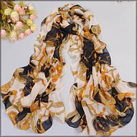 Красивый женский легкий шарф с принтом желто-синего цвета