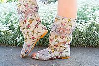 Стильные льняные кружевные сапожки с открытым носком