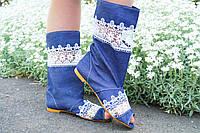 Стильные джинсовые кружевные сапожки с открытым носком
