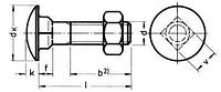 DIN 603/MU (ГОСТ 7802, ISO 8677)  Болт с полукруглой низкой головкой и квадратным подголовком