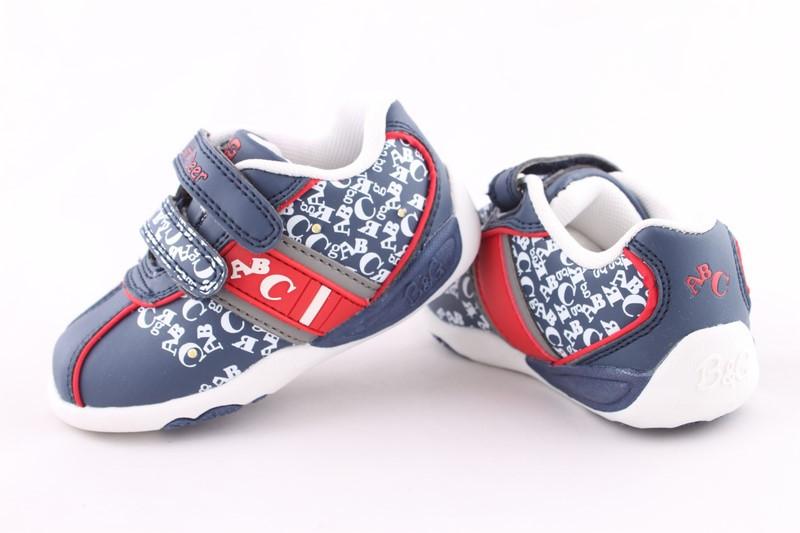 Кросовки B&G для мальчика с мигалкам, синие з красными вставками,  23, 24, 26, 27