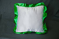 Подушка атласная квадрат, рюш зеленый