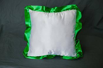 Подушка атласна квадрат, рюш зелений