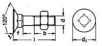 DIN 605 (ГОСТ 17673 - 81)  Болт с потайной головкой и высоким четырехгранным подголовком