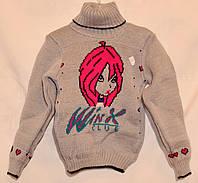 """Детский вязаный свитер """"Winx"""" для девочек"""