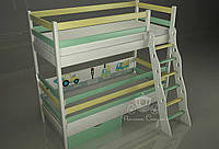 "Двухъярусная кровать - манеж ""Грузовичок"" с лестницей Люкс"
