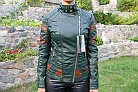 Весенняя молодежная  куртка, кож.зам. Зеленая