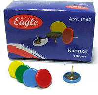 Кнопки канцелярские Eagle цветные виниловые, TY62