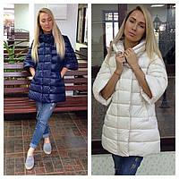 Эксклюзивная женская куртка с  рукавами 3/4 и прорезными карманами