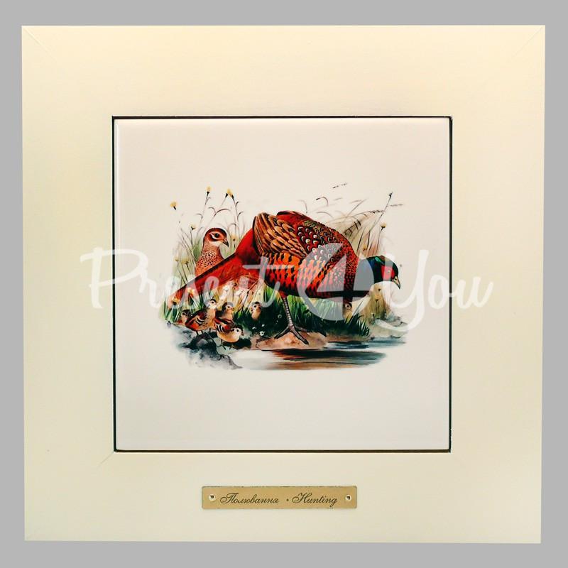 Панно настенное «Охота. Фазан», 23х23, 14,5х14,5 см.
