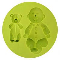 """Молд силиконовый """"малыш и медвежонок"""""""
