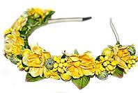Желтый обруч для волос с цветами