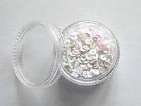 Пайетки кружочки белые розовый блеск