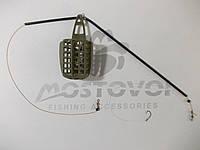 Фидерный  монтаж: кормушка 40г, противозакручиватель, крючок СHINU-R №8 Корея с поводком из лески 0,22мм