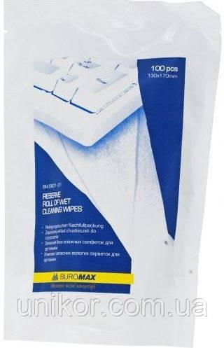 Салфетки влажные для оргтехники, запаска в пакете 100 шт. BuroMax