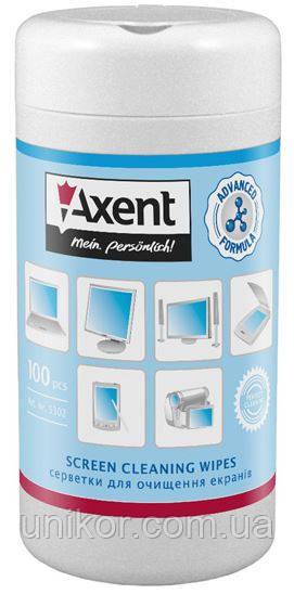 Салфетки влажные для очистки, TFT / PDA / LCD мониторов, бокс 100 шт. AXENT
