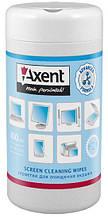 Серветки вологі для очищення TFT / PDA / LCD моніторів, бокс 100 шт. AXENT