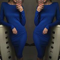 Женское облегающее платье  с длинным рукавом в разых цветах