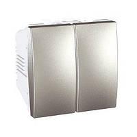 Переключатель 2-кл проходной алюминий Schneider Electric Unica Top MGU3.213.25