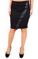 Юбка Кожа диагональ, юбка прямая, юбка до колена, черная юбка, для офиса, для школы, дропшиппинг
