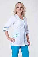 Медицинский костюм женский брючный белый больших размеров