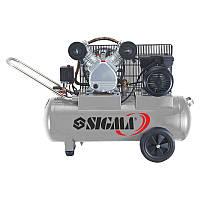 Компрессор двухцилиндровый ременной 2.5кВт 396л/мин 10бар 100л (2 крана) Sigma 7044151