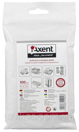 Салфетки влажные для очистки, оргтехники, запаска в пакете 100 шт. AXENT