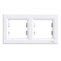 Рамка 2-постовая горизонтальная Schneider Electric Asfora, белая