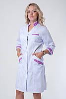 Женский медицинский халат с сиреневыми вставками (котон)