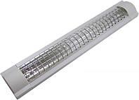 Светильник люм. LEMANSO 2x36W без лампы с серебряной решеткой LM936R NEW
