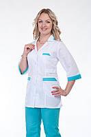 Медицинский костюм женский (белый+бирюза) большого размера