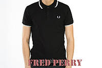 """Футболка """"Fred Perry"""", черная, С,М,Л,ХЛ"""