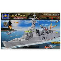 Детский конструктор военный brick Корабль 84029 897 деталей в коробке