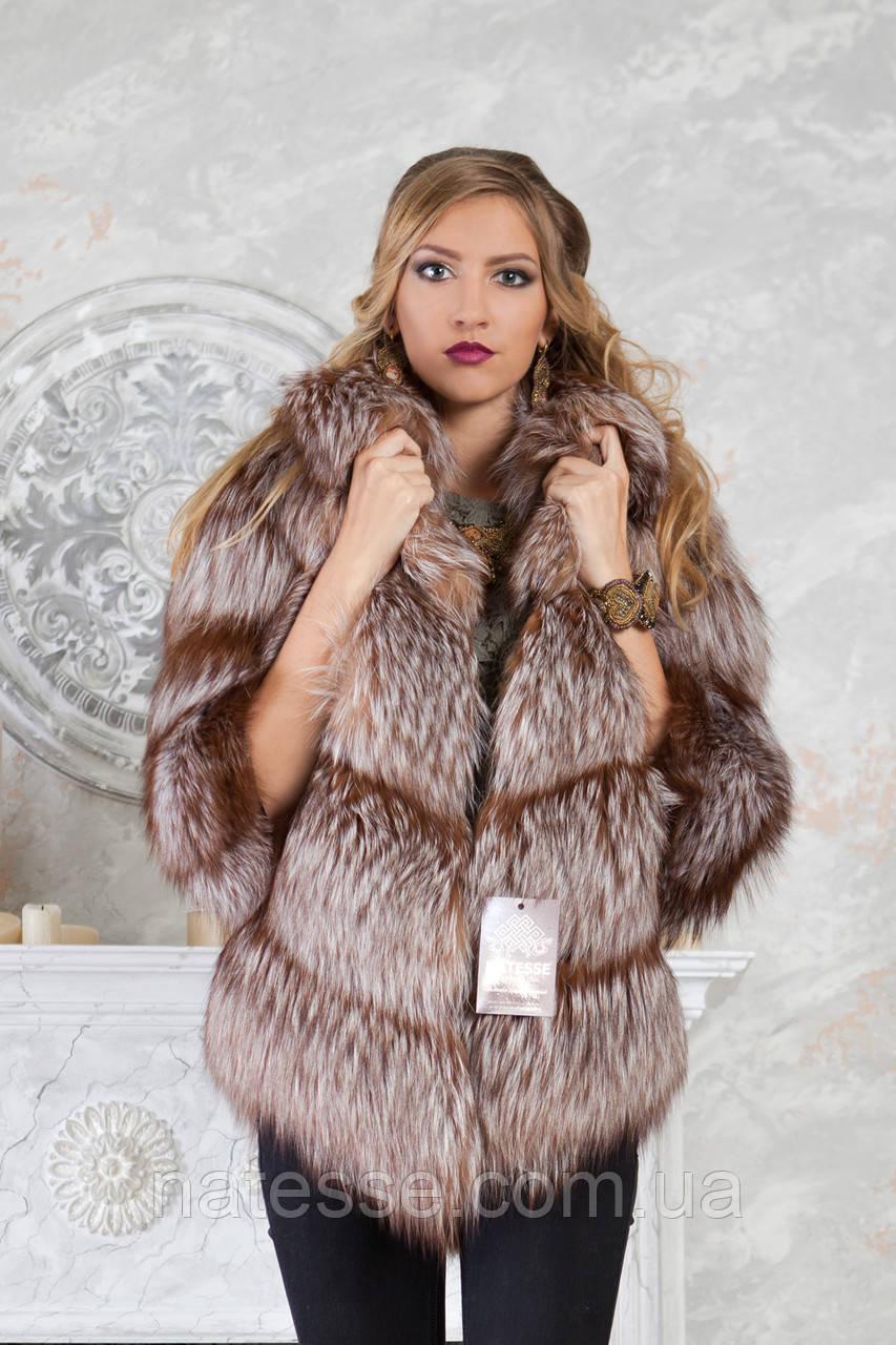 """Полушубок жилет из золоченой чернобурки """"Рита"""" silver fox fur coat jacket vest gilet"""