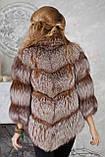 """Полушубок жилет из золоченой чернобурки """"Рита"""" silver fox fur coat jacket vest gilet, фото 4"""