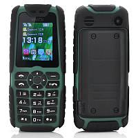 Противоударный телефон с огромной батареей! Xiaocai X6 black-green +фонарь, 2 SIM, 5000 mAh. IP67 оригинал