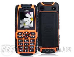 Противоударный телефон с огромной батареей! Xiaocai X6 black-orange - Мощный фонарь, 2 SIM, 5000 mAh. оригинал
